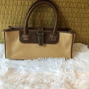 Latico leather handbag brown cream brass hardware